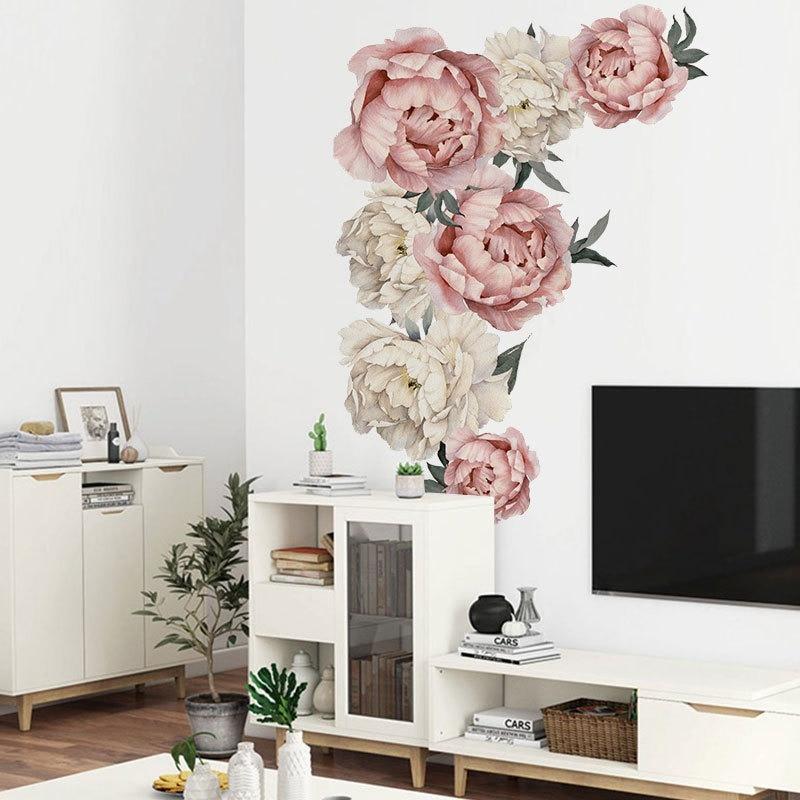 DIY autoadhesivo pegatina murales arte para niñas habitación floreciente peonía Floral pared pegatina guardería boda fiesta decoración extraíble