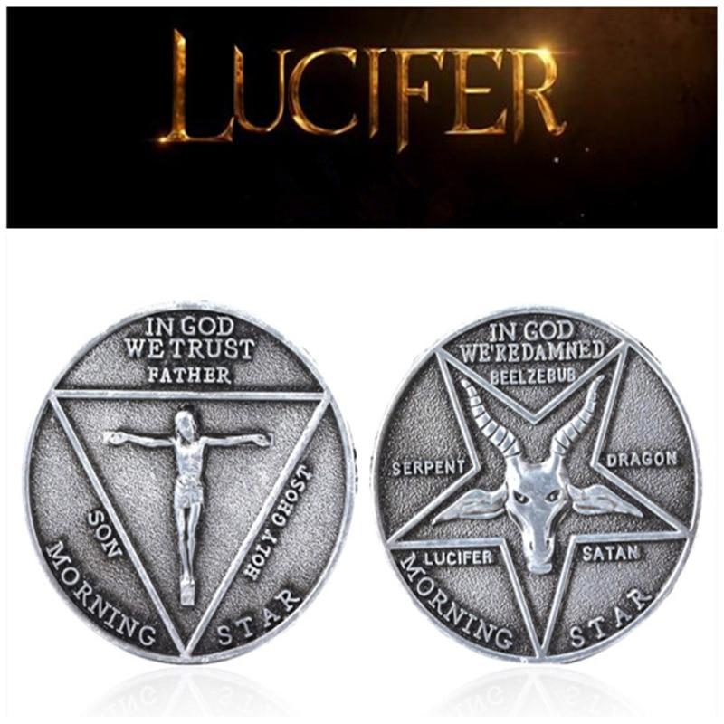Película Lucifer Morning Star satánico Pentecostal Cosplay speece insignia conmemorativa moneda Halloween Metal accesorios moneda