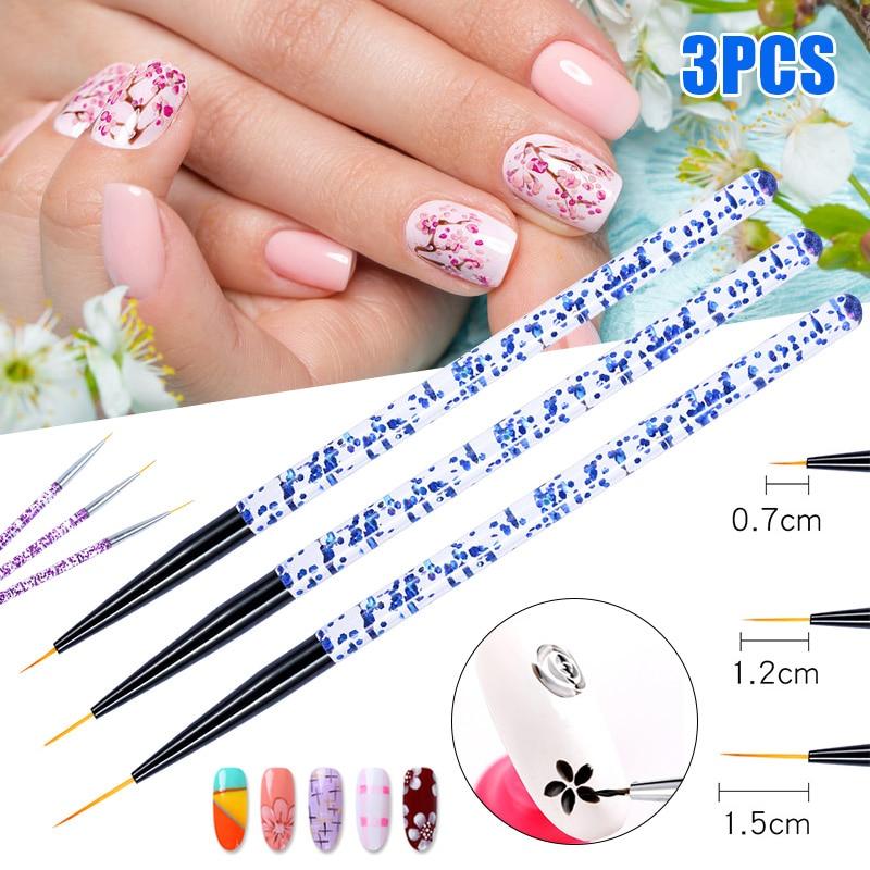 3pcs Nail Art Pen Dotting Painting Drawing UV Gel Liner Polish Brush Tool Set BUTT666