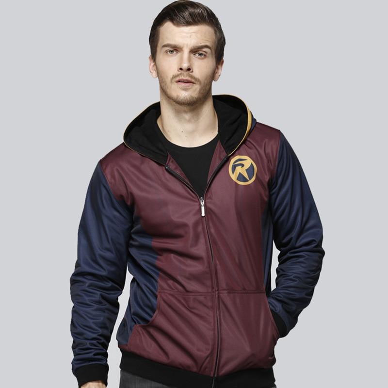 2018 DC Comics Robin Hoodie Winter Verdicken Druck Mit Kapuze Jacke Venom Streetwear Unisex Beiläufigen Sweatshirt Zipper Dropshipping