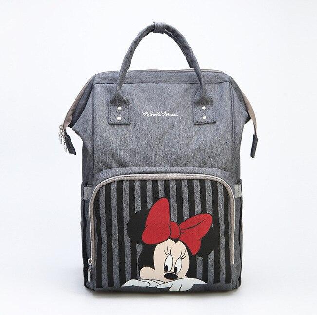 Disney Baby Windel Rucksack Mütter Baby Pflege Tasche Mutter Mutterschaft Windel Ändern Tasche Kinderwagen Reise USB Heizung Mickey Serie
