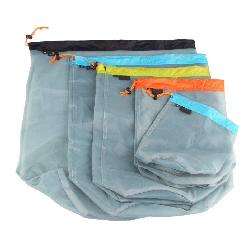 Ultralight Camping Sports Mesh Drawstring Storage Bag Hiking Climbing Stuff Sack Laundry Bag Factory Price S-XXL Utensil