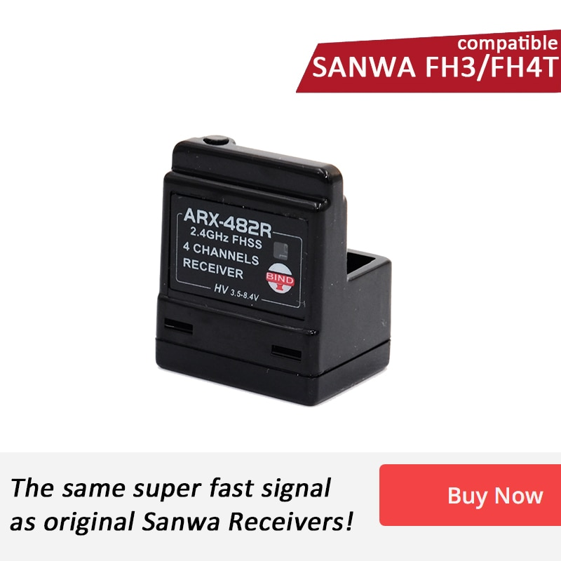 AGF-RC ARX-482R Compatible Sanwa FH3/ FH4T 4 Channel Surface Receiver Special for RC Car and Boat enlarge