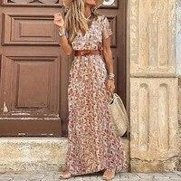 2021 summer boho long dress women casual printed tunic party dresses female elegant high slit beach robe dress mujer robe femme