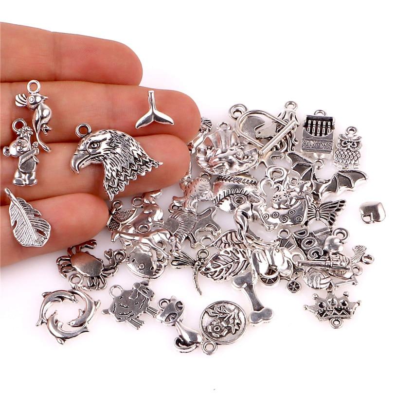 40pcs/lot 23491 Fashion Handmade Jewelry Making Findings DIY Charms Antique Silver European Bracelets Charm Pendants
