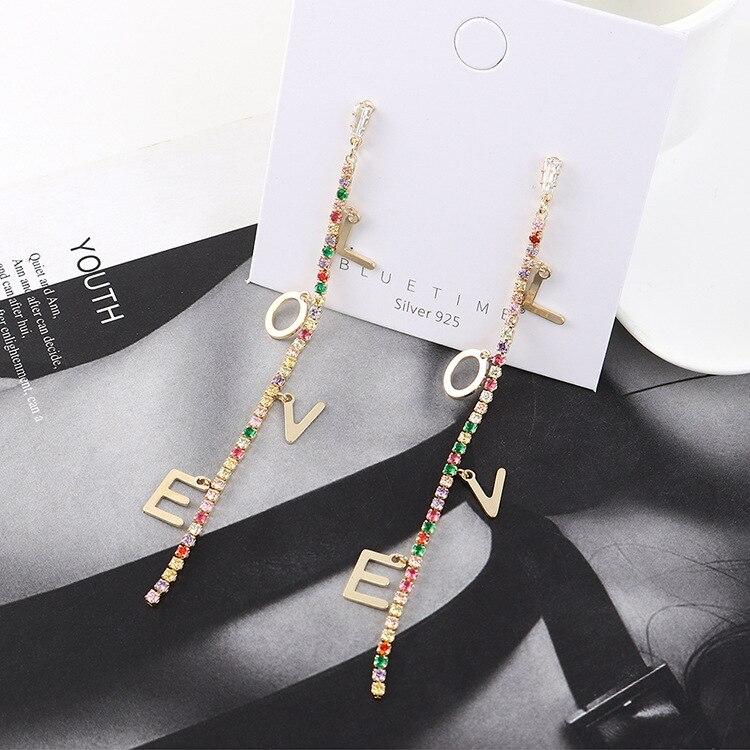 Creativo coreano, pendiente de oreja con letras Love, conjunto de diamantes, pendientes elegantes con borlas largas, pendientes para mujer, B-4514 de joyería con pasador de plata S925