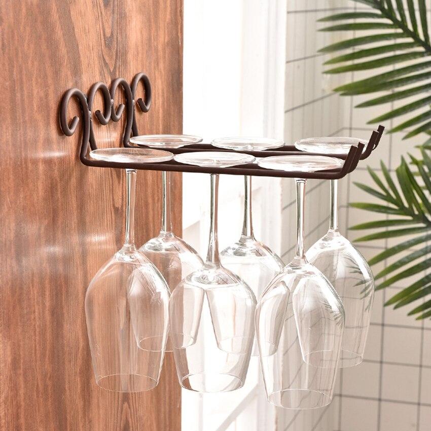 Ferro de bronze do vintage vinho vidro pendurado rack champanhe stemware titular armário cozinha barra copo vinho exibição prateleira decoração