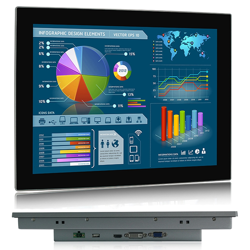 15 inch Industrial Lcd Monitors VGA HDMI DVI USB Resistance Multi-Touch Screen Industrial Display rack mounting embedded monitor