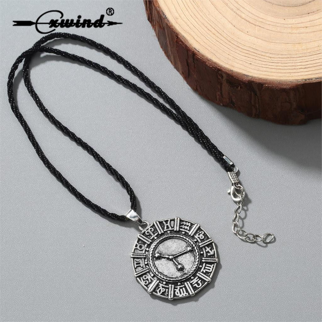 Cxwind runas signo del zodiaco Set pendientes collares y colgantes para mujeres Statment cumpleaños 12 constelación collar pendiente Mujer