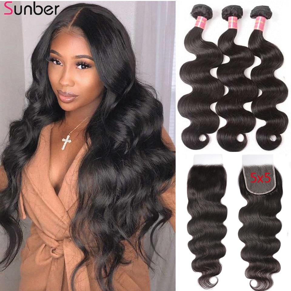 Sunber Hair Peruvian Body Wave Hair Bundles With 5x5 HD Lace Closure High Ratio Remy Hair 3/4 Bundles Double Machine Hair Weft