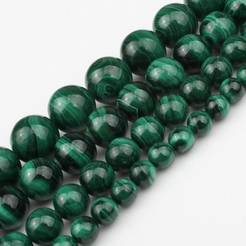 Aaa natural malaquita redonda solta contas de pedra caber diy pulseira colar needlework contas para fazer jóias 6 8 10 12 mm 7.5 polegada