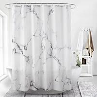 Rideaux de douche en marbre imprime 3D  impermeable  blanc  pour salle de bain  Style Simple  isolation de baignoire  decoration de la maison avec 12 crochets