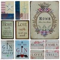 Affiche dart doux en metal  signe en etain  amour  famille  Plaque en fer  autocollants muraux de Pub  bienvenue a la maison