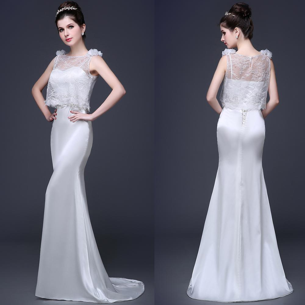 Get Mermaid Satin Wedding Dress Two Pieces Simple Long Spaghetti Straps Corset Bridal Gown With Lace Jacket 2020 Real Photos #420