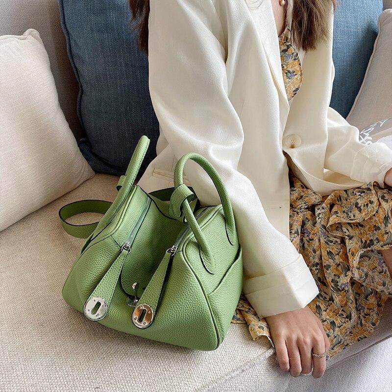 أعلى جودة ~ جلد طبيعي المرأة حقيبة \ حقيبة يد 20 ألوان الموضة الكلاسيكية جلد البقر حمل الإناث تنقش حقيبة كتف حقيبة الطبيب