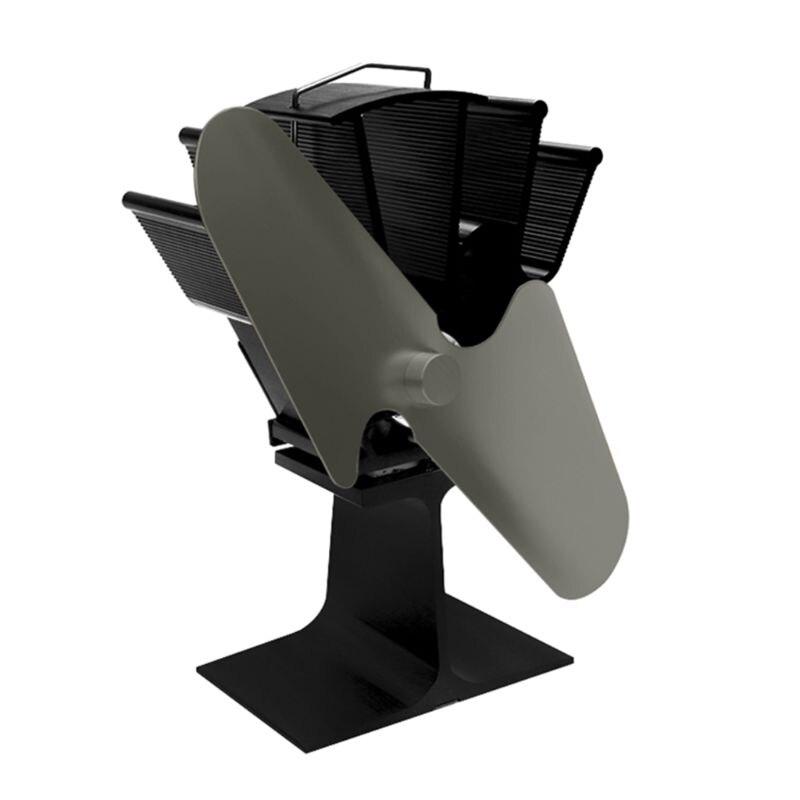 Heat Self Powered Fireplace Stove Fan 2 Blades  for Large Room Wood Log Burner 69HF enlarge