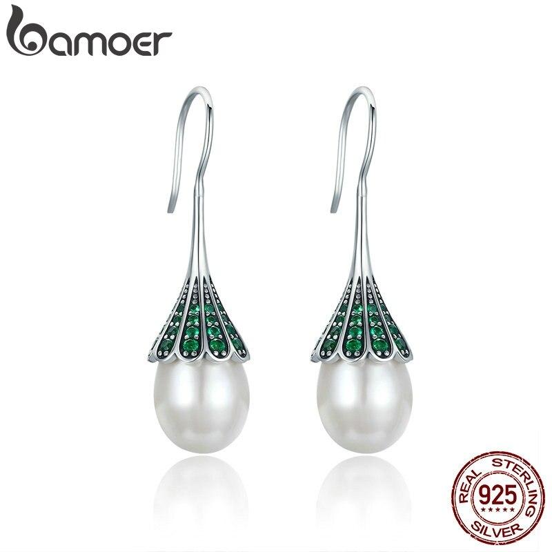 Pendientes colgantes BAMOER de Plata de Ley 925 elegantes y transparentes con circonita cúbica para mujer, joyería de plata de ley Brincos SCE204