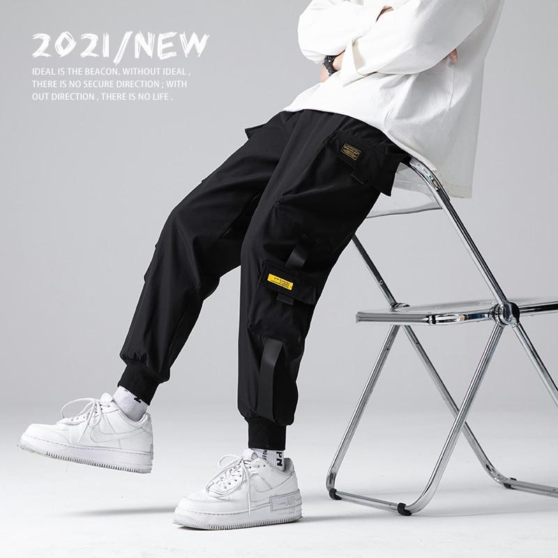 Spring Summer Men Ribbons Color Block Black Pocket Cargo Pants 2021 Harem Joggers Men Harajuku Sweatpant Male Hip Hop Trousers