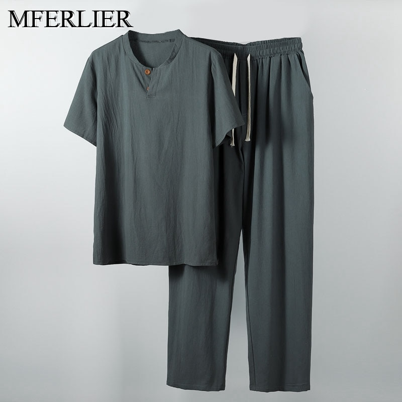 Camisa de verano para hombre 5XL 6XL 7XL 8XL 9XL 10XL Lino de talla grande con pantalones camisa de talla grande para hombre 5 colores