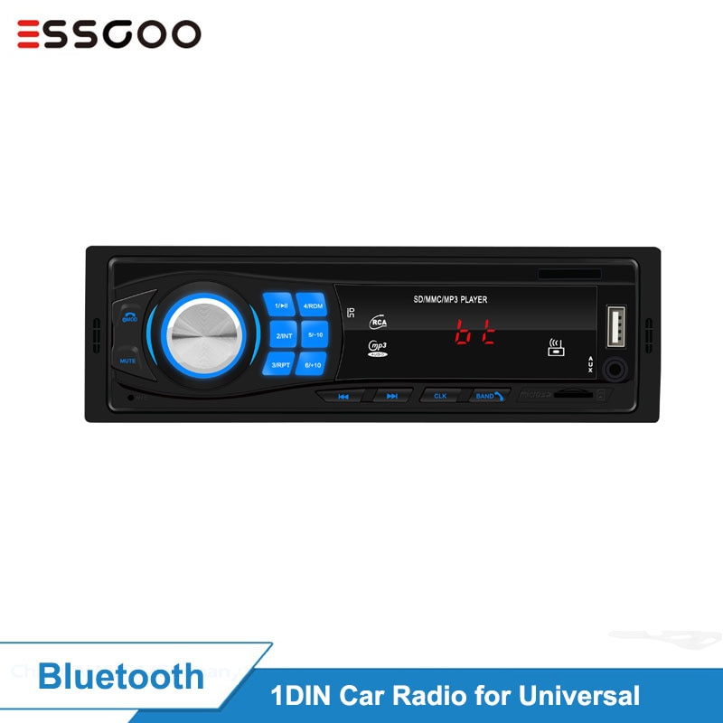 Essgoo Car Radio 1 Din Bluetooth Car Stereo In-dash FM Aux Input Mp3 USB WMA AUX IN FM Car Player Autoradio DAB RDS AM Optional car auto tape 4 60 w bluetooth usb sd aux car radio stereo player digital bluetooth car mp3 player 60 wx4 fm radio stereo