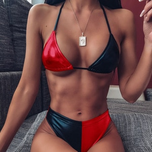 2020 Female Patchwork Swimwear Women Sports Bikini Set Green Swimsuit Bathing Beach Suit Push Up Bikinis High Waist Swimming New