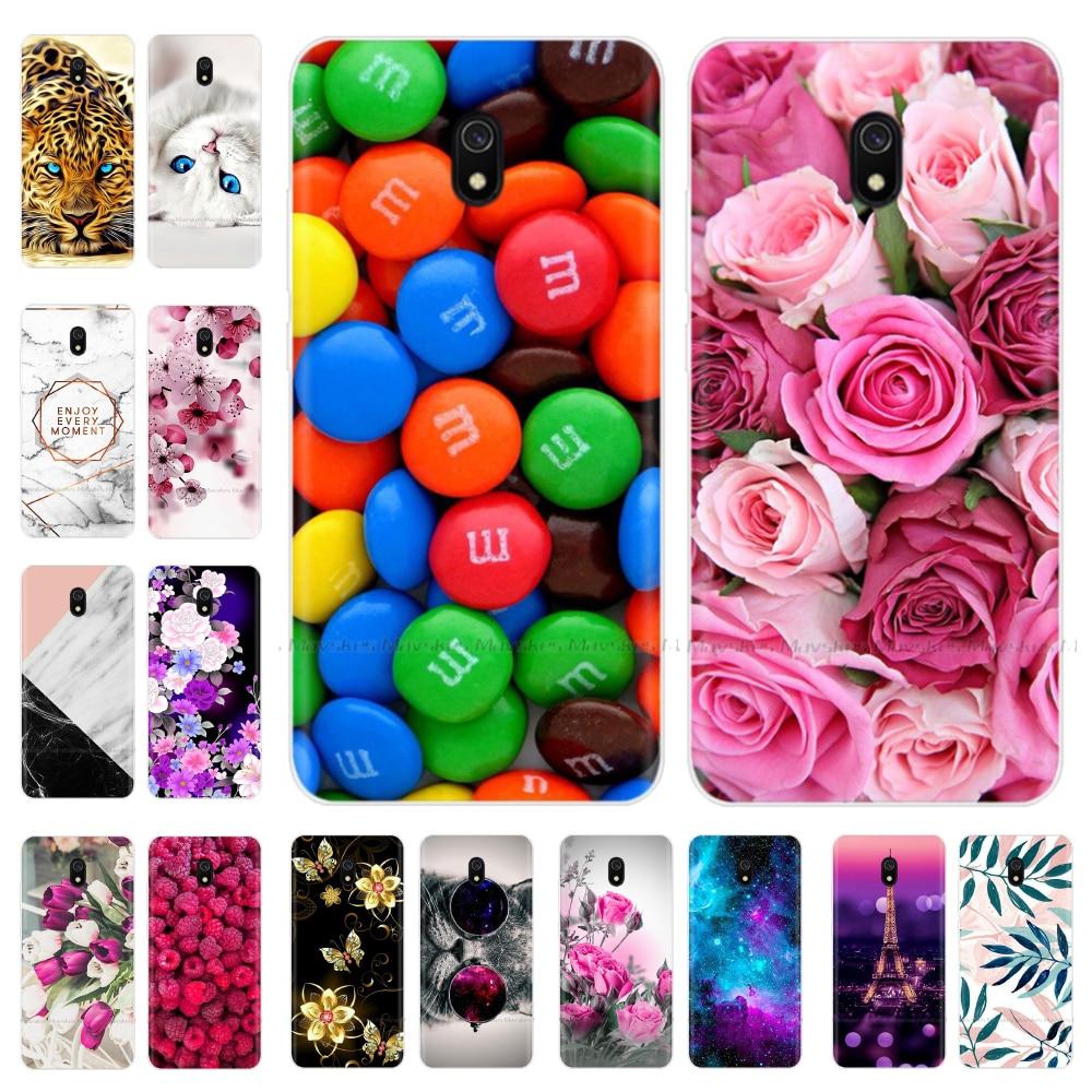 Silikon Telefon Fall Für Xiaomi Redmi 8A Fall Klar Weichen TPU Rückseitige abdeckung volle 360 schutzhülle muster floral Tier malerei