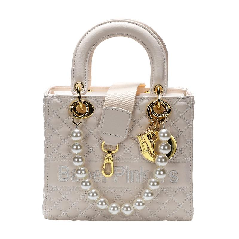 Fashion Famous Embroidery Mature Ladies Bag Hard Handle Shopping Basket Elegant Shoulder Handbag For Women With Pearls 8006#