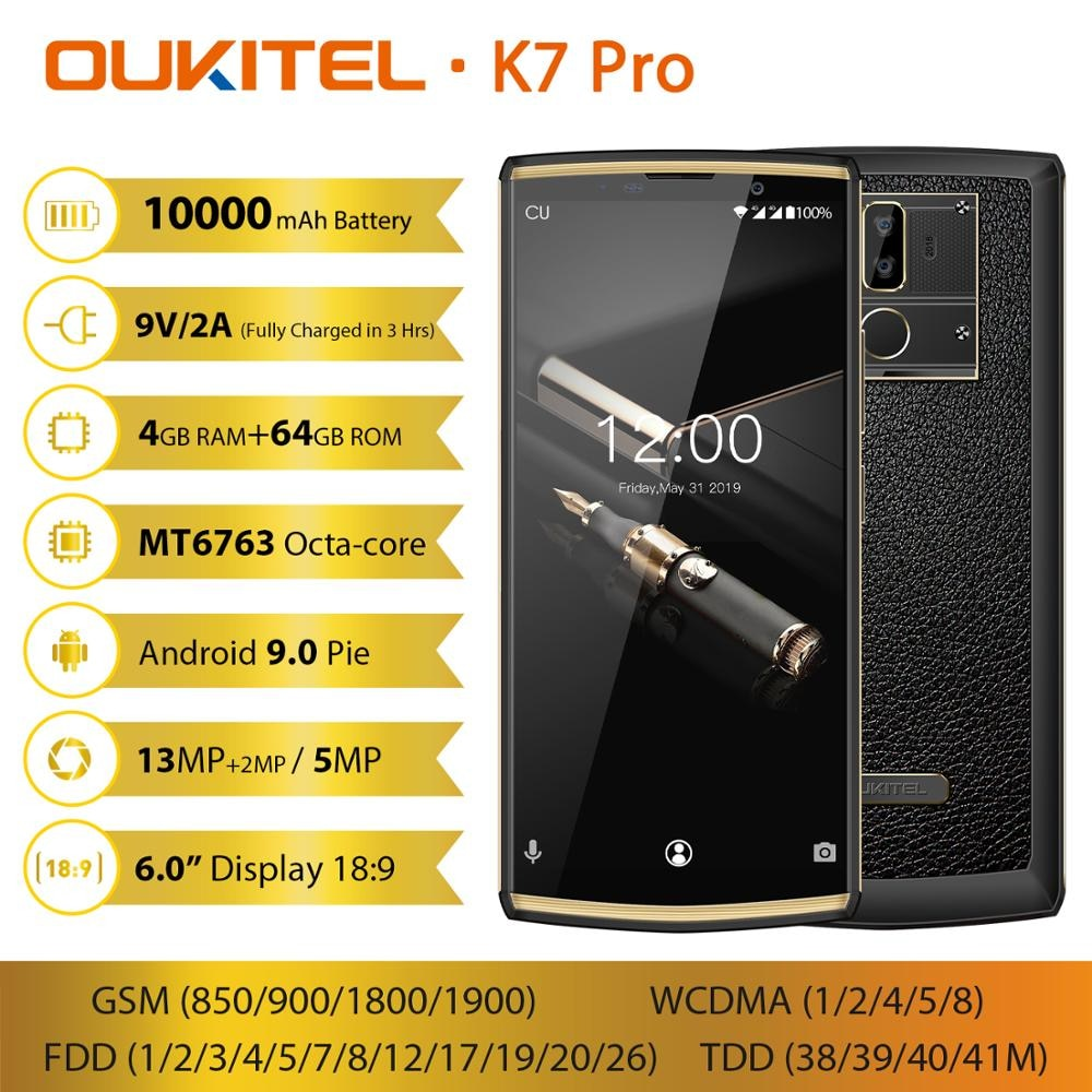 "OUKITEL K7 Pro Smartphone 4GB RAM 64GB ROM 6.0"" FHD 18:9 MT6763 Octa Core Android 9.0 13.0MP 10000mAh Face ID 9V/2A Mobile Phone"