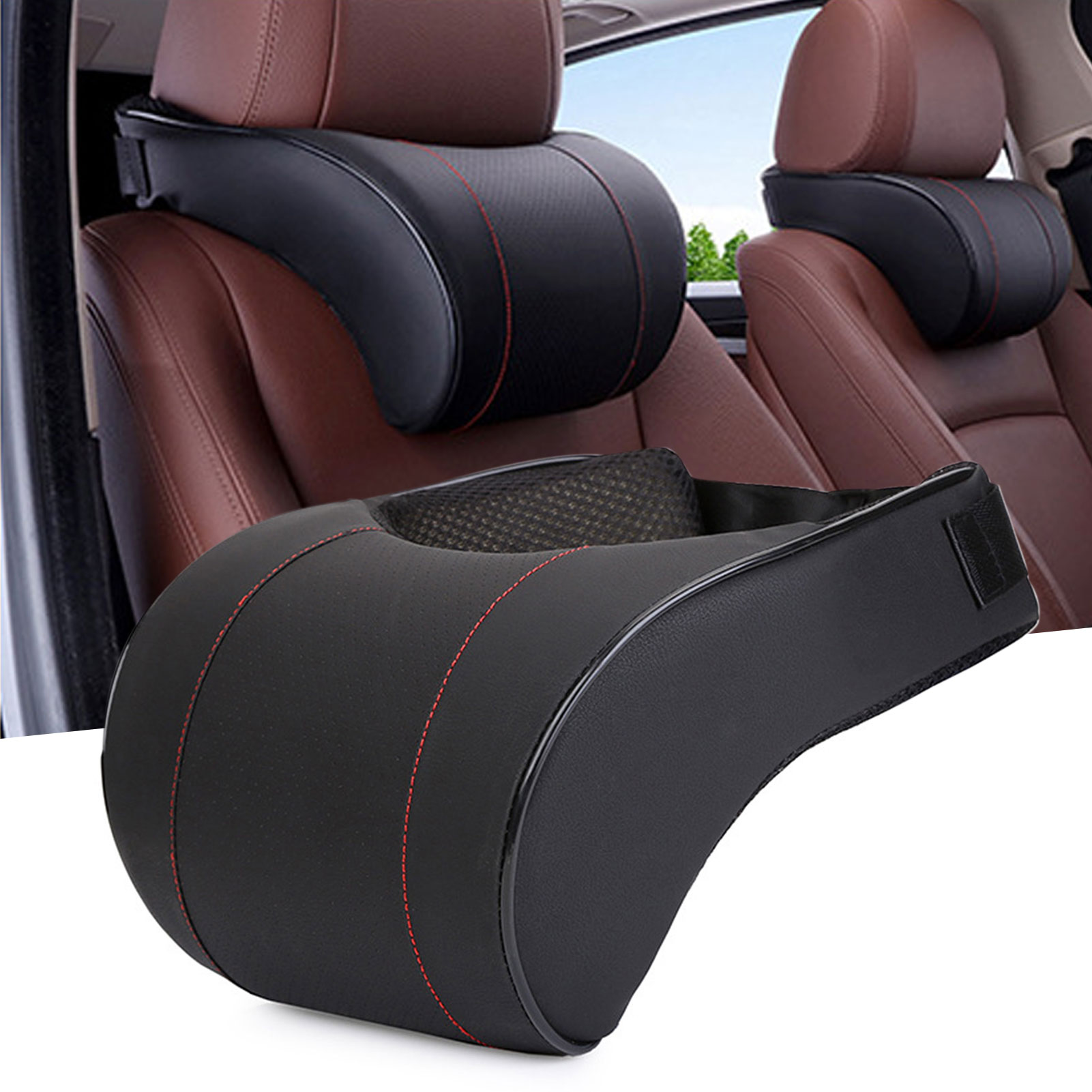 Memory Foam Car Headrest Pillow PU Leather Adjustment Auto Neck Rest Lumbar Pillows Travel Car Seat Headrest Cushion
