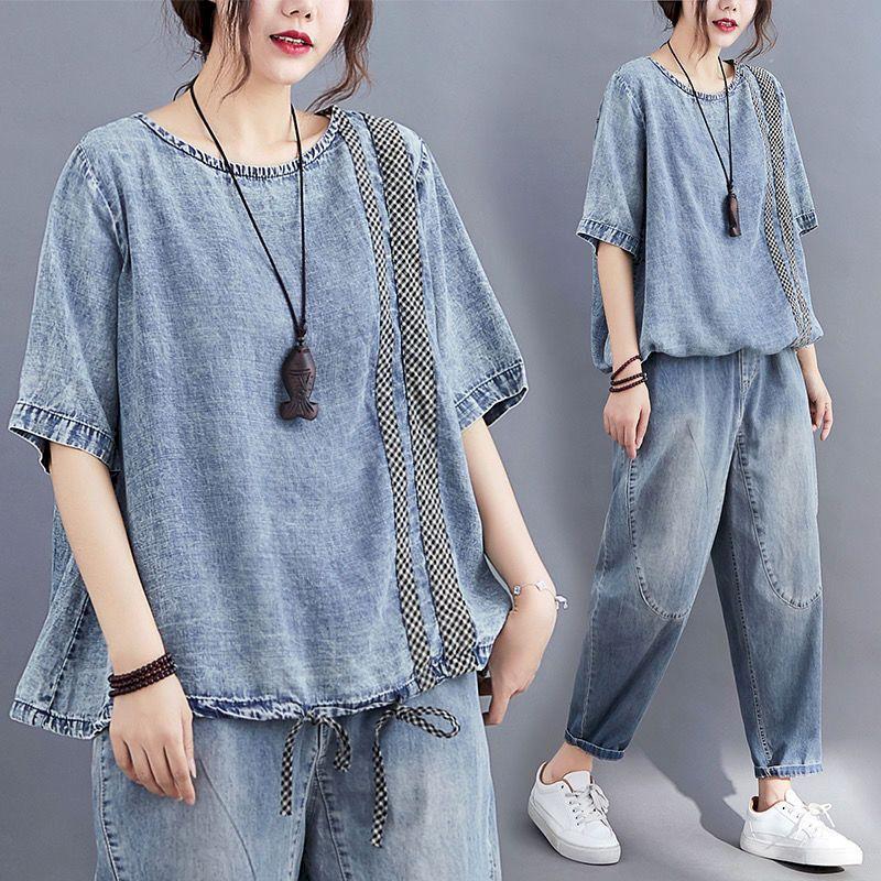 2021 الصيف المرأة الجديدة تي شيرت الرجعية العمر الحد منقوشة خياطة التي شيرت رقيقة الدنيم قصيرة الأكمام قميص حجم كبير التخسيس القمم