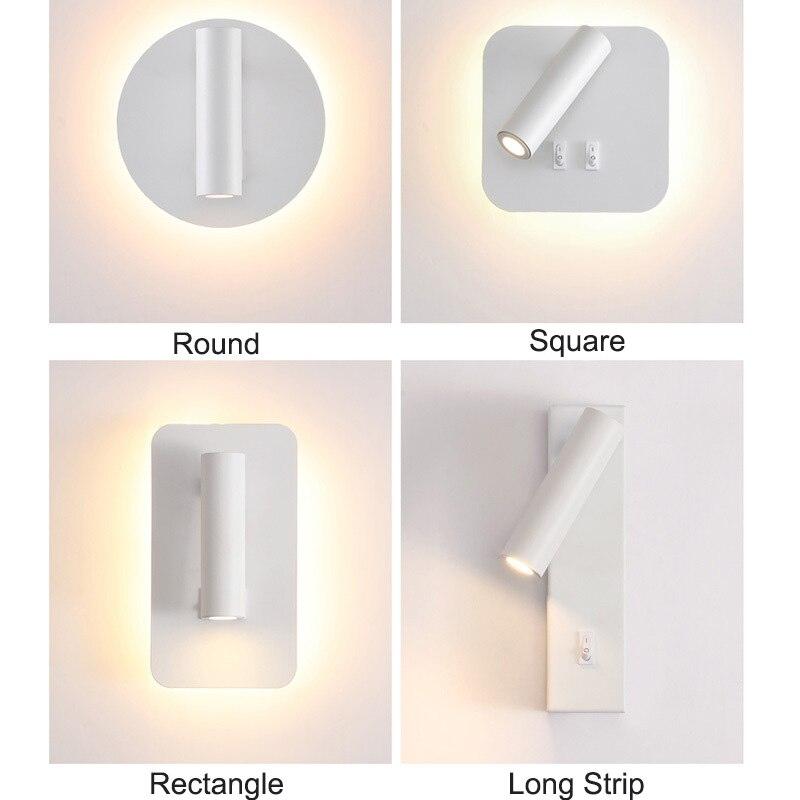 luminaria de parede led para quarto interno com interruptor duplo angulo ajustavel