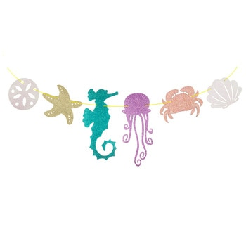 Вечерние украшения русалки подводный мир картонная гирлянда хвост русалки баннер океан День Рождения украшения для детей HW77