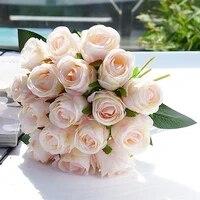 18 unidslote rosa artificial flores ramo de la boda de rosa de seda flor de fiesta decoraci%c3%b3n flores de navidad flores