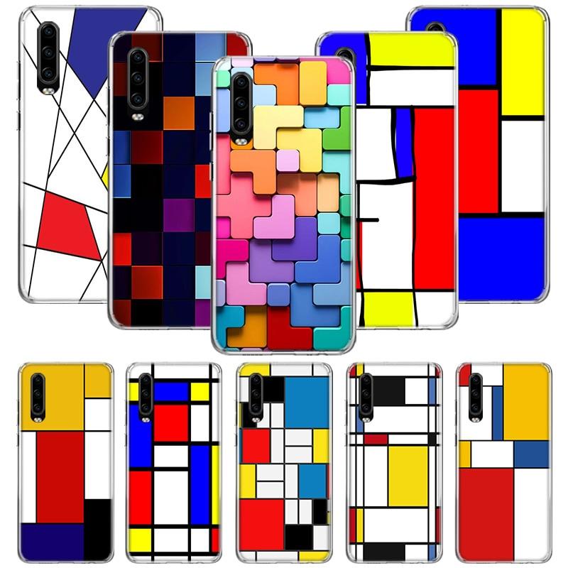 Mondrian grid Fall für Huawei P20 P30 P Smart Z Plus 2019 P10 Mate 30 10 20 Lite Pro Silikon sac Telefon Coque Abdeckung