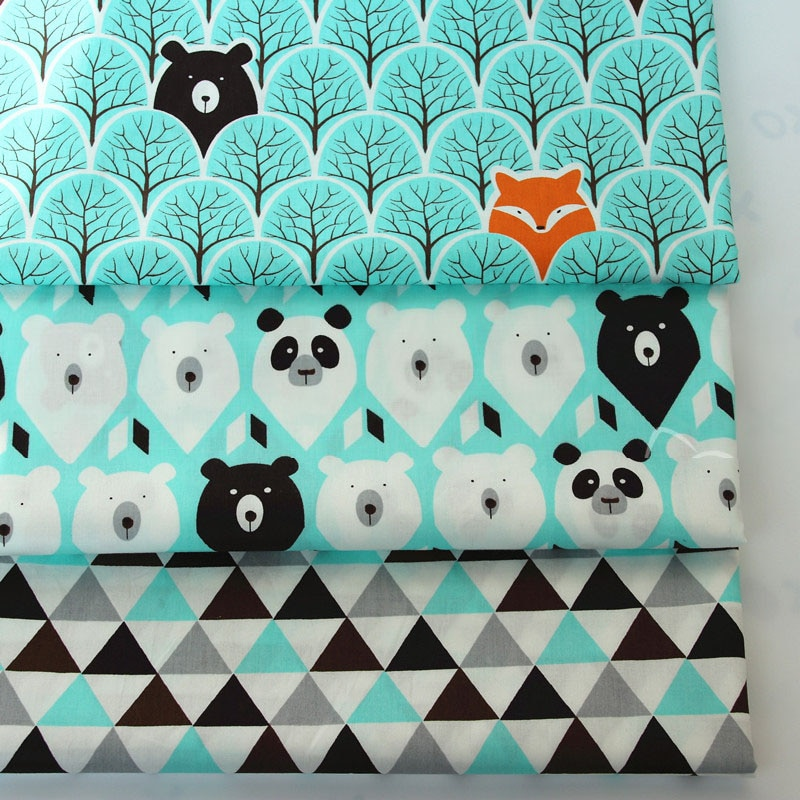 3PCS 50*40cm Cute Bear Cotton Twill Printed Fabric Kids Cotton Cloth for DIY Sewing Quilting Material For Baby