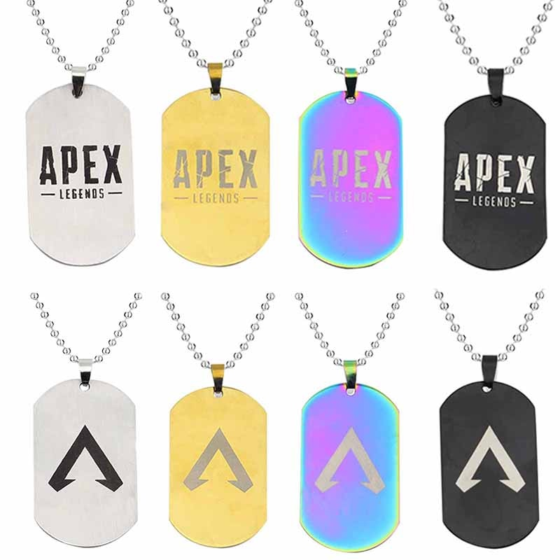 Hot FPS Game Apex Legends Necklace Fashion Stainless Steel Dog Tag Shape Logo Engraved Pendant Necklaces Gift Souvenirs Jewelry