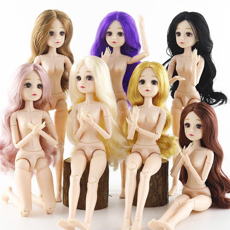 36cm 1/4 bjd muñecas accesorios cabeza 3D ojos para peluca larga mujer desnuda muñeca de juguete para niñas cabeza con cuerpo