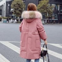 2019 winter coat women long down jacket female hooded coat warm women parkas duck down jacket women coat real raccoon fur collar
