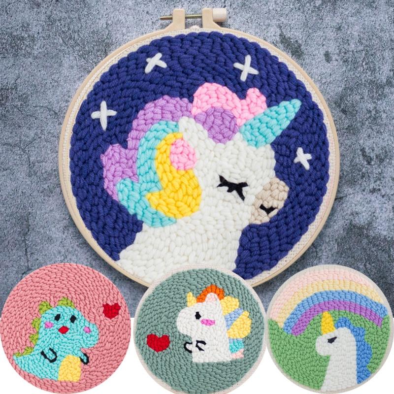 DIY juego de bordado de aguja de punzón mágico con bordado de aro, trabajo de lana para principiantes, pintura de Arte de coser, decoración de regalo hecha a mano