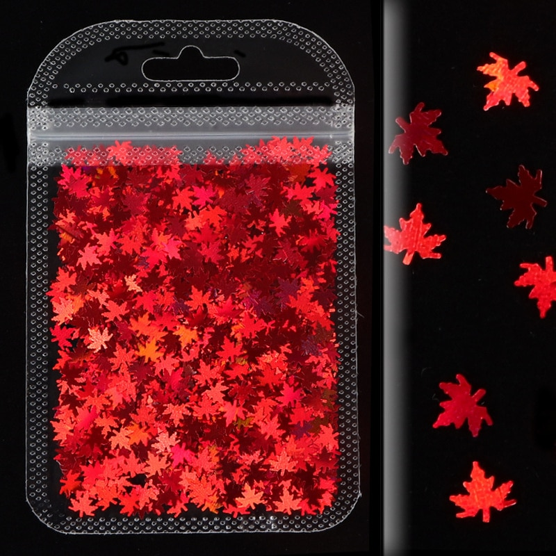 Maple Leaf Glitter Flakes Sequins Flakes for Epoxy Resin Silicone Mold Clay Slime Filling Nail Art Handmade Craft Making DIY