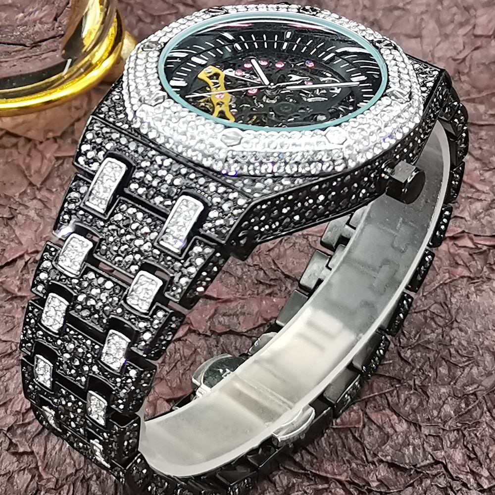 MISSFOX Black Hollow Movement Men's Mechanical Watch Top Brand Full Diamond Hip Hop Men Watches Top Luxury Business AAA Clocks enlarge