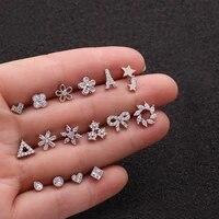 zircon small stud earrings cartilage piercing earring for women gold silver heart flower geometric jewelry fashion accessories