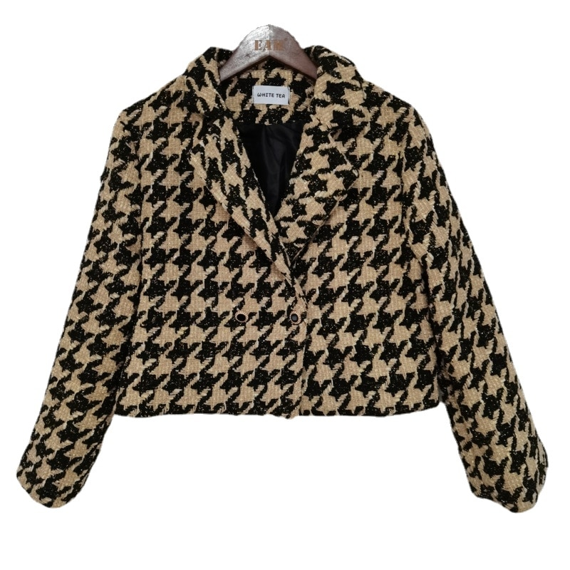 2021 Spring Female Turn Down Collar Double Breasted Minimalist Loose Plaid Cotton Heavy Tweed Jacket Cardigan Coat