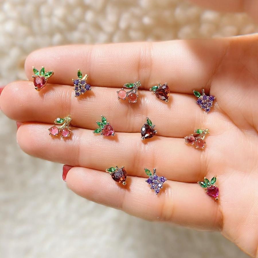 Summer new real 925 sterling silver Cute Fresh Crystal Mushroom Cherry Strawberry Apple girl minimal fruit stud Earrings Jewelry