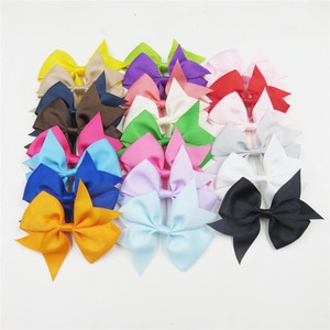 20PCS/LOT Lovely Swallowtail Solid Color Ties Only Bows Elastic Bands For Baby Girl Hairpin Clip Goth Pins Kids Hair Accessories