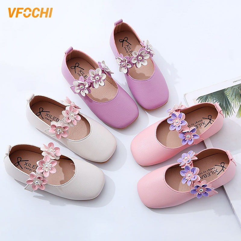 VFOCHI New Girls Leather Shoes for Kids Flated Flower Girls Dancing Shoes Children Princesss Shoes Teenager Girls Wedding Shoes