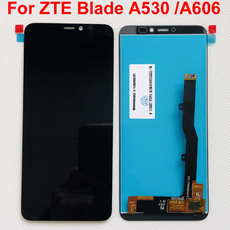 100% pantalla LCD completa Original de 5,45 pulgadas + MONTAJE DE digitalizador con pantalla táctil para ZTE Blade A530 / Blade A606 negro; Nuevo; 100% probado