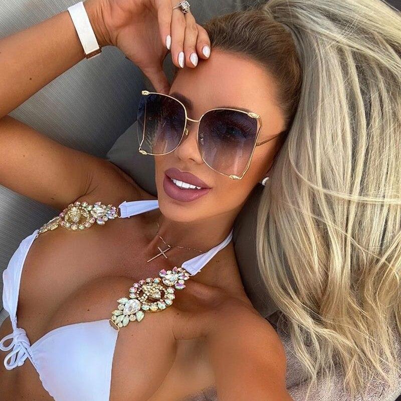 2021 New Brand Pearls Half Round Sunglasses Women Fashion Big Frame Gradient Sun Glasses Female Ocul