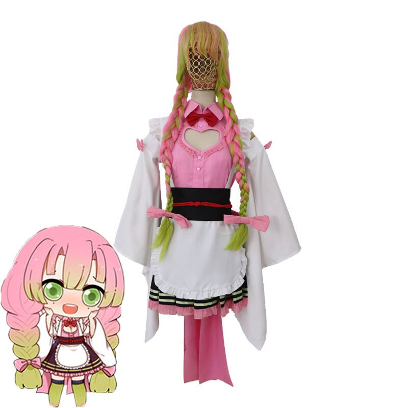 Japão anime demônio slayer kimetsu não yaiba cosplay traje kanroji mitsuri halloween cosplay traje de empregada vestido