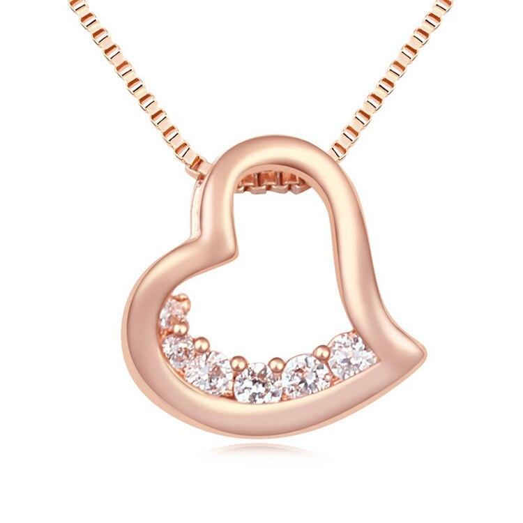 FXM moda corazón amor Collar para mujeres con circonio AAA cobre chapado corazón de oro para fiesta
